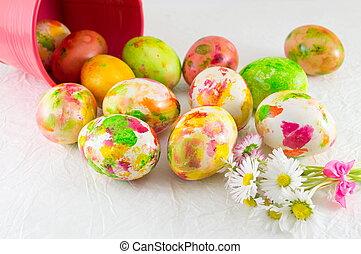 peint, oeufs pâques, et, pâquerette, fleurs