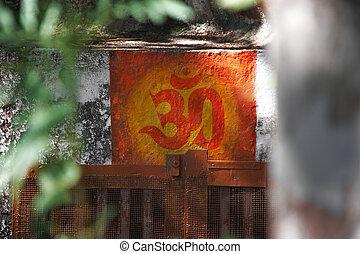 peint, ohm, symbole, mur
