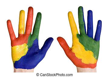 peint, peintures, mains, coloré, enfant
