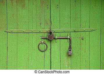 peint, portail, vert, moyen-âge