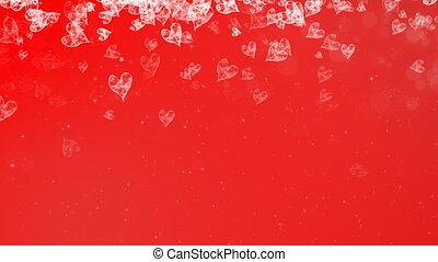 peint, résumé, arrière-plan., cœurs, tomber, rouges