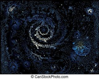 peint, résumé, galaxie