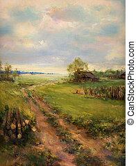 peint, rural, toile, scène, retro