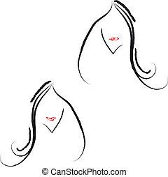 peint, salon cheveux, icône