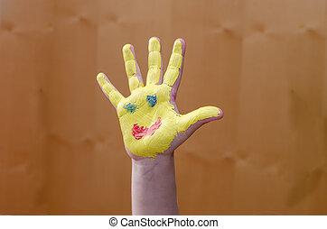 peint, soleil, sur, main