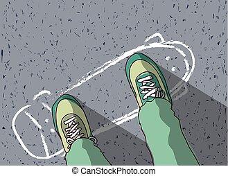 peint, sommet, skateboard, pieds, trottoir, homme, vue