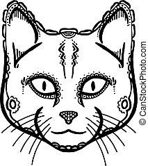 peint, tête, chat