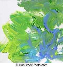 peint, toile, acryliques, main