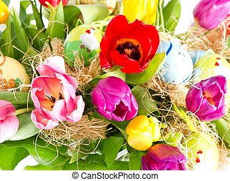 peint, tulipes, oeufs, Paques