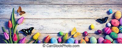 peint, vendange, oeufs, -, papillons, tulipes, paques, planche