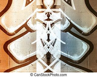 peint, vieux, graphique, formes, béton, géométrique, mur