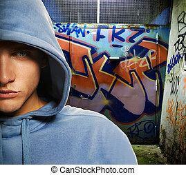 peint, voyou, regarder, graffiti, porte, frais