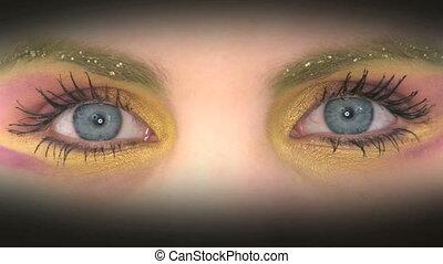 peint, yeux, coloré