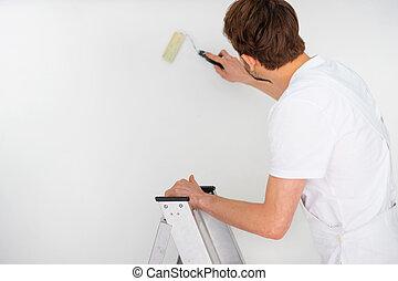 debout escabeau peintre debout aper us sien copyspace photographies de stock. Black Bedroom Furniture Sets. Home Design Ideas