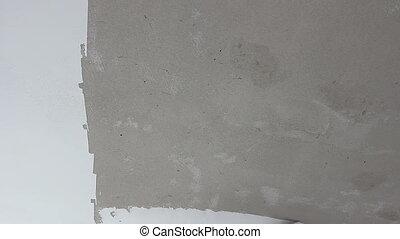 Peintre, Est, Lisser, Mur, Avant, Peinture, à, Truelle,