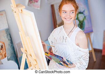concentr palette femme art toile tenue peinture photographies de stock rechercher. Black Bedroom Furniture Sets. Home Design Ideas