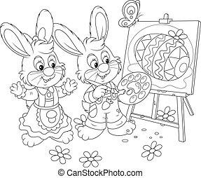 peintres, lapins, paques