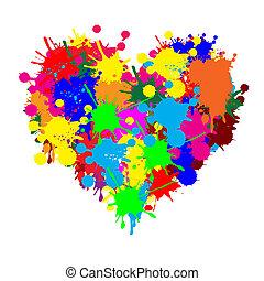 peinture, éclaboussure, coeur