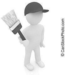 peinture,  3D, brosse, homme