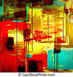 peinture, acrylique, composition
