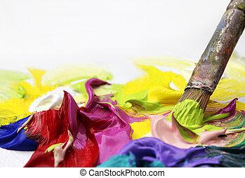 peinture, acryliques, brosse