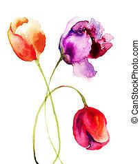 peinture, aquarelle, fleurs, tulipes, beau