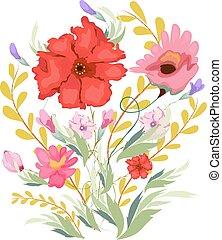 peinture aquarelle, fleurs
