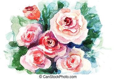 peinture, aquarelle, roses, fleurs
