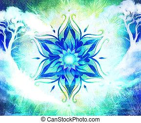 D coratif papier peint arbre couleur collage - Mandala paysage ...