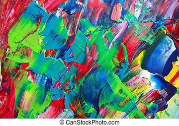 peinture, art abstrait, couleurs, acrylique