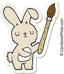 peinture, autocollant, brosse, lapin, dessin animé