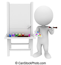 peinture, blanc, 3d, gens