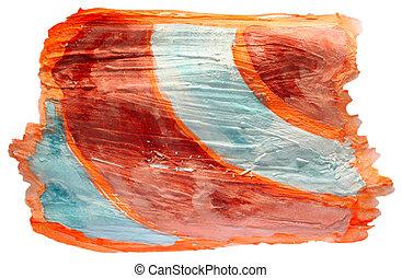 peinture bleue, diagramme, isolé, aquarelle, orange, coup,...