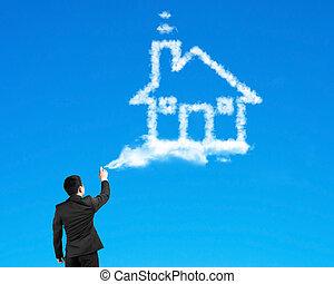 peinture bleue, maison, ciel, pulvérisation, forme, homme affaires, nuage