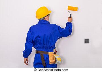peinture, brosse, mur, vêtements, peintre, travail