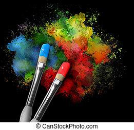 peinture, brouillages canal adjacent, pinceaux, noir