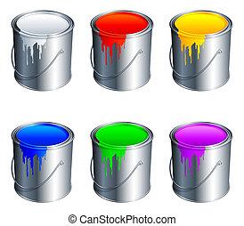 peinture, buckets.