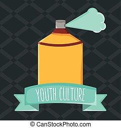 peinture, cadre, culture jeunesse, bouteille jet, ruban