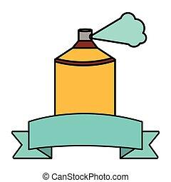 peinture, cadre, ruban, bouteille jet