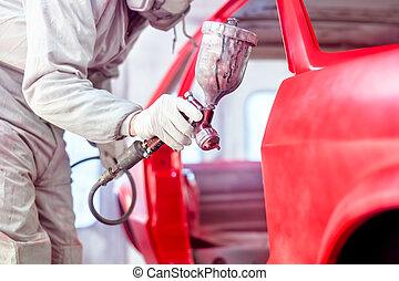 peinture carrosserie, voiture, ouvrier, pulvérisation, professionnel, rouges