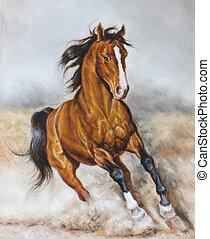 peinture, cheval, huile, prairie