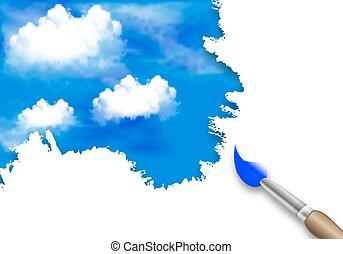 peinture, ciel, nuages, brosse