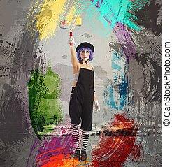 peinture, clown, artiste