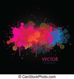 peinture, coloré, splats, fond