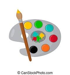 peinture, colorez palette, illustration, arrière-plan., vecteur, brosse, chalkboard., blanc