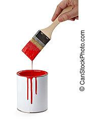 peinture, couleur, boîte en fer-blanc, et, brosse