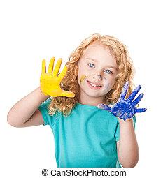 peinture, couleurs, jouer, main