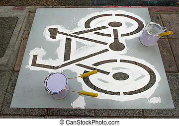 peinture, couloir bicyclette