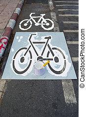 peinture, couloir, vélo