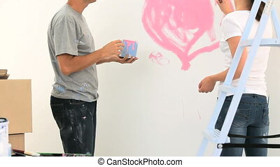 peinture, couple, ensemble, heureux